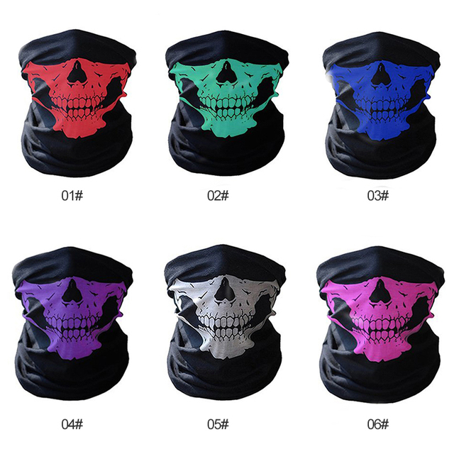 Full Face Motorcycle Face Shield winter Balaclava Face Mask Ghost Tactical Mask 3D Skull Sport Mask Neck Warm Windproof Outdoor 2