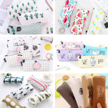 1pc Latest 2018 School Supplies Pencil Case Kawaii Student School Cosmetic Bag for Women Office Supplies Escolar Canvas(China)