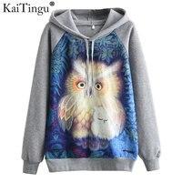 KaiTingu Women Fashion Hooded Sweatshirt For Autumn Winter Long Sleeve Harajuku Owl Cat Print Grey Hoodies