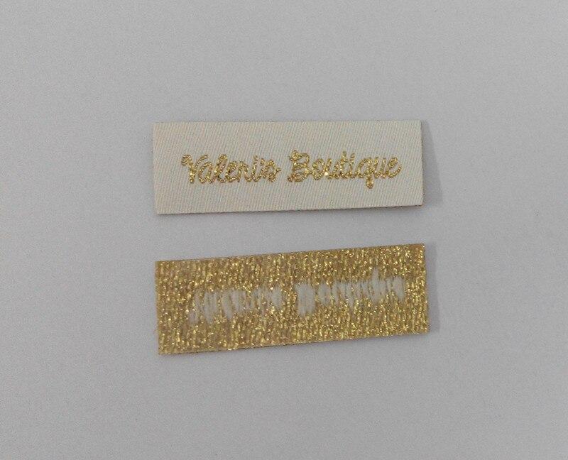 Fer personnalisé sur les étiquettes de vêtements tissés avec logo privé, étiquette adhésive découpée au laser et étiquettes avec des fils d'or/argent