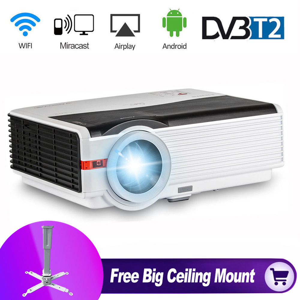все цены на CAIWEI DVBT TV Full hd 1080p 5000lm WIFI LED Projector for Home Theater Cinema Movie Video Game Office HDMI VGA USB Free Bracket онлайн