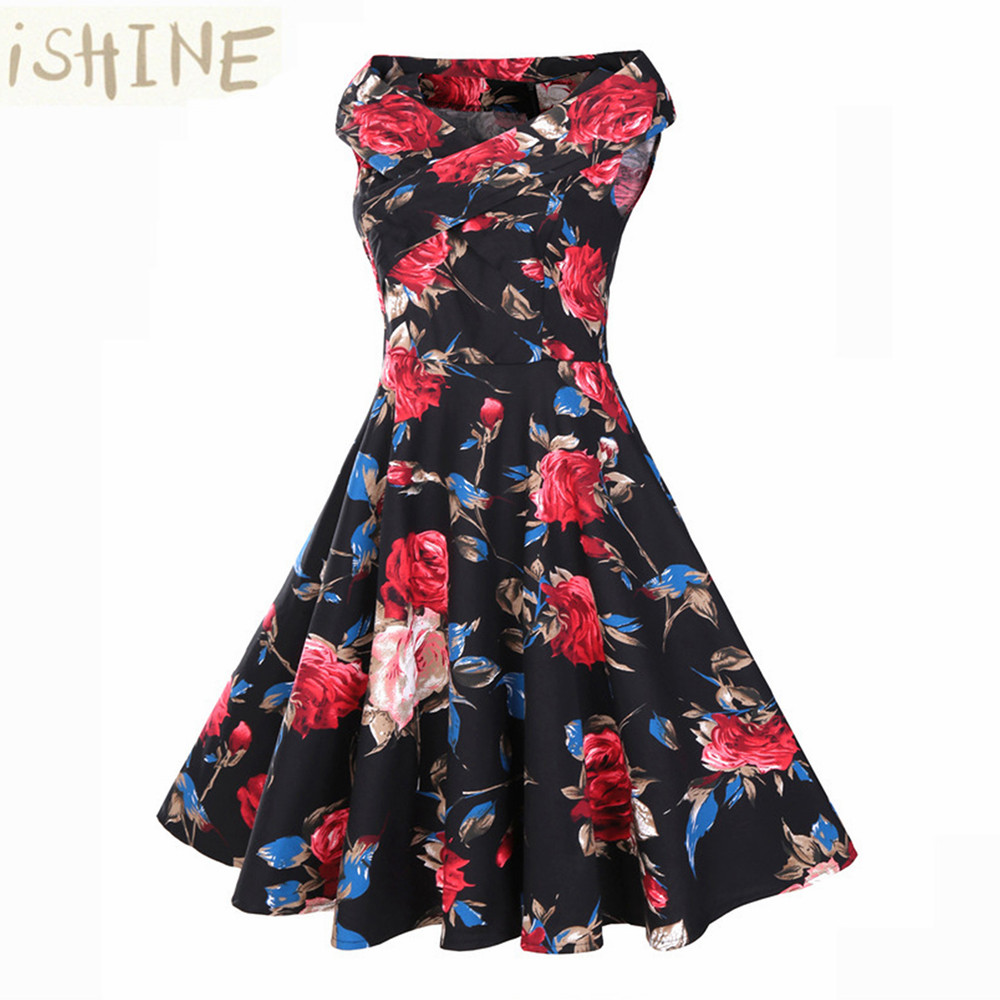 ISHINE 2017 New intage Dress Women Robe High Waist Rockabilly Feminino Vestidos Retro sleeveless Party Midi Pleated Dresses