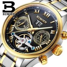 Швейцария БИНГЕР часы мужчины luxury brand Tourbillon сапфир световой несколько функций Механические Наручные Часы B8602-10