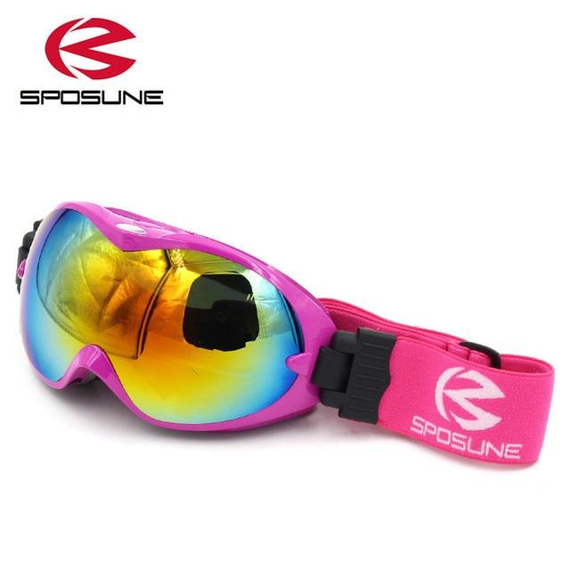 82a0b65625 Los niños de esquí de nieve gafas para niños niñas anti niebla UV400 doble  lente invierno