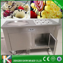 cold pan ice pan fry fried ice cream machine/stir fry ice cream machine with 2 comperssor