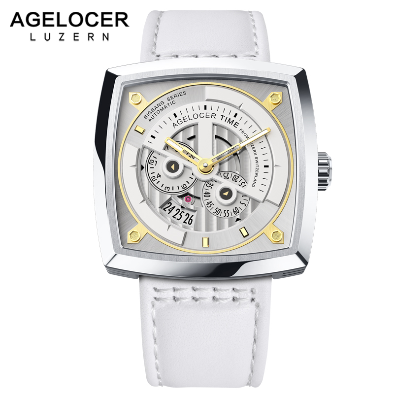 Swiss Brand AGELOCER Ladies Mechanical Watch Women Wristwatches Skeleton Square Watches Leather Strap Gift +BOX winner women luxury brand skeleton genuine leather strap ladies watch automatic mechanical wristwatches gift box relogio releges