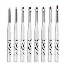 цены 8pcs/set Nail Brush Set Zebra Liner Draw UV Gel Acrylic Polish Brush Nail Art Painting Pen Manicure Nail Tips Tool Kits