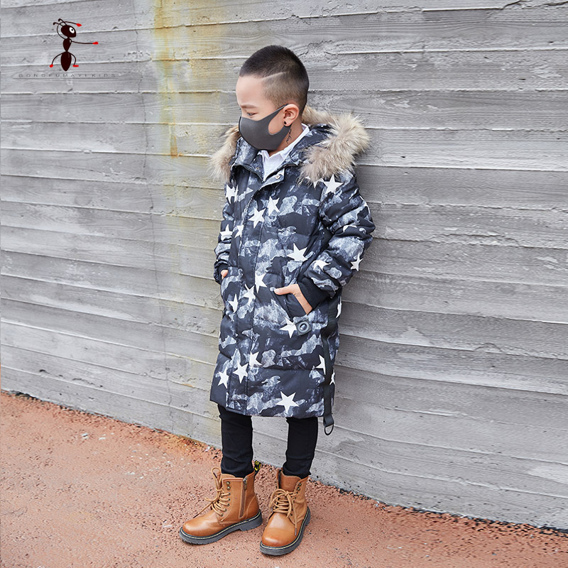 Kung Fu Ant 2017 New Arrival Outerwear Fur Hooded Parkas White Goose Down Long Coat Camouflage Jacket 7635 new pure linen retro men s wing chun kung fu long robe long trench ip man robes windbreaker traditional chinese dust coat