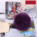 Hot selling friendly Trinket brown Deep Purple Fur Keyring Lovers 10CM Rabbit  Ball Keyrings Accessories Bag Charm
