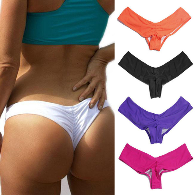 1682baea3d CROSS1946 chaud V forme sexy maillots de bain femmes brésilien bikini bas  string tanga culottes sous