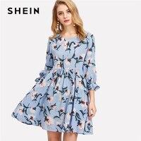 SHEIN Ruffle Cuff Floral Print Smock Dress Women Round Neck Flounce Sleeve High Waist Short Dress
