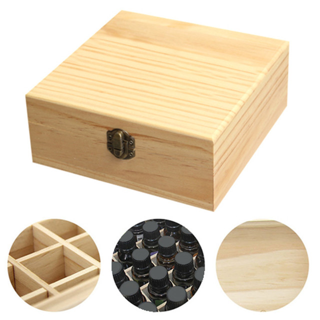 Wooden Storage Box 1pc Carry Organizer Essential Oil Bottles Aromatherapy Container Metal Lock Jewelry Treasure Case 5