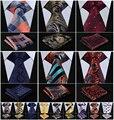 "Compruebe Floral a rayas de punto 3.4 "" Silk tejido Jacquard hombres corbata del lazo Pocket Square pañuelo Set Suit J2-1"