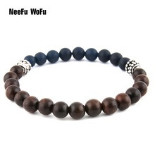 Natural Stone Wood Beads Men 's Bracelet High Quality Brand Strand Beads Men Bracelets&banger