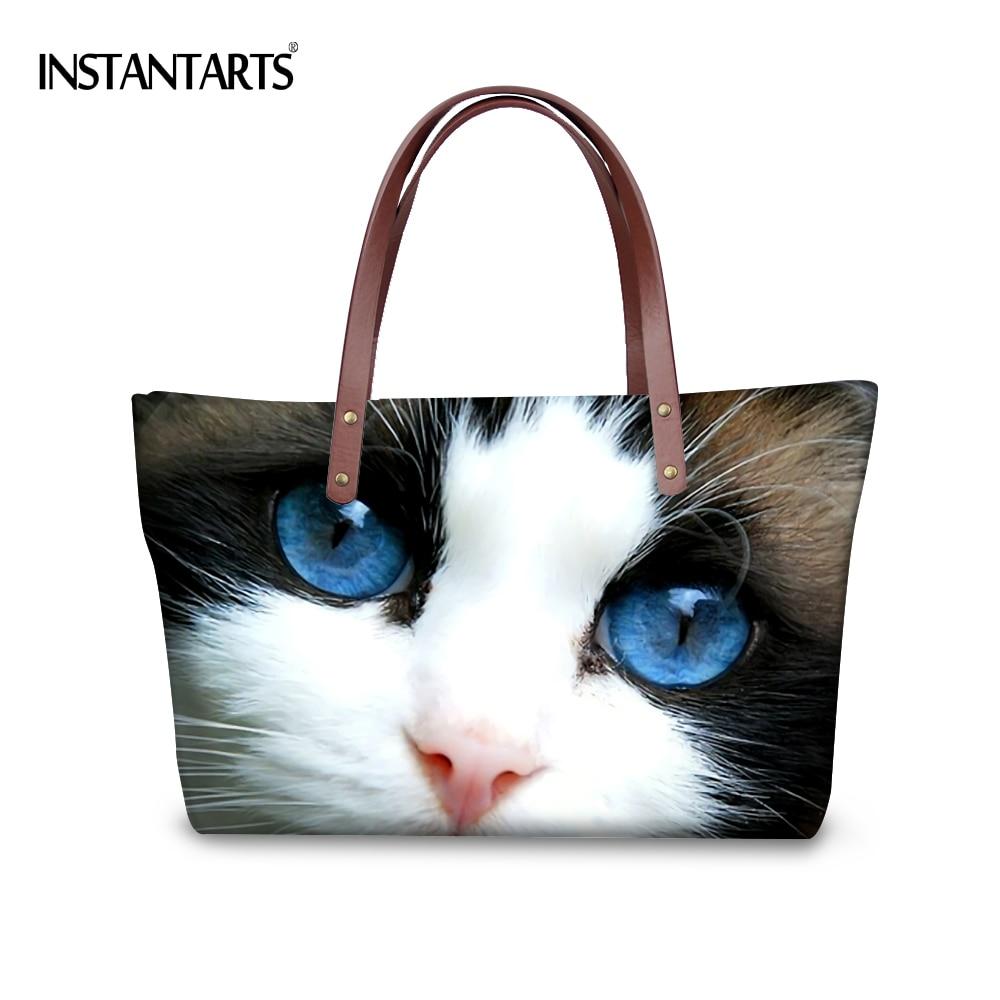 INSTANTARTS Cute Animal Large Size Women Handbags Brand Design Tote Shoulder Bag Cute Cat Printed Casual Shopping Top Handle Bag