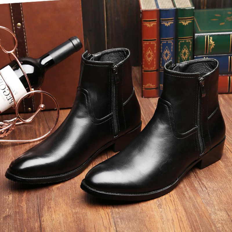 Leisure Knee-high Round Toemen Chelsea Boots Solid Lace-up Vintage Motorcycle Boots Sewing Low Classics British Style Shoes Strong Packing Men's Shoes