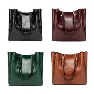Image 2 - FUNMARDI Бренд Дизайн Восковая Кожаная Сумка Роскошные высококачественные женские сумки Высокоемкая Сумка Кожаная Сумка На Молнии WLHB1723B