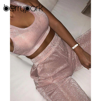 BerryPark NEW 2019 Summer Glitter Pink Workout Clothes Women Yoga Set Bra + Pants Sport Wear Gym Suit Fitness Outfits Wholesale