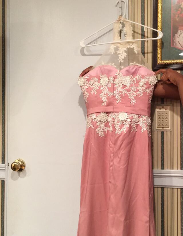 Polvoriento Rosa Rosa Sirena Vestidos de dama de Honor Halter con ...
