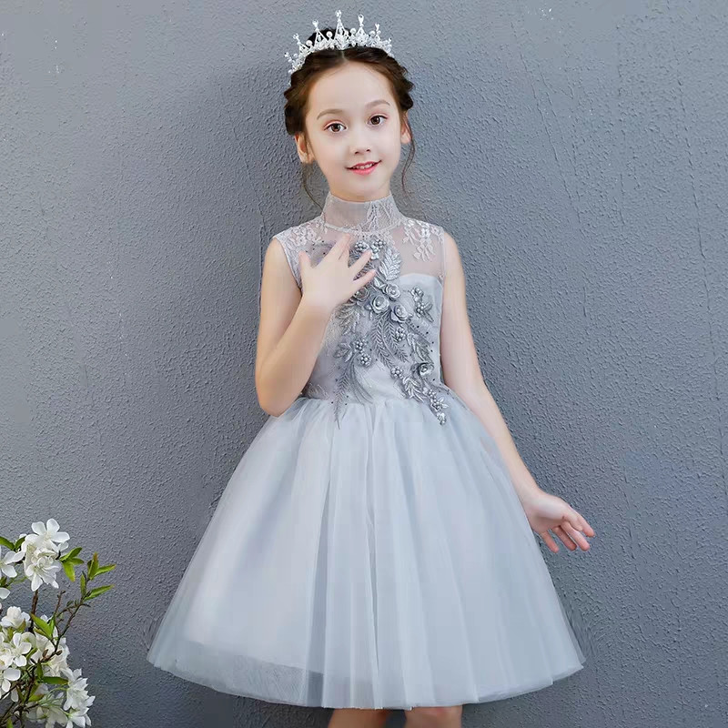 2019 Summer Sweet Little Girls Baby Pink/Gray Color Appliques Flowers Birthday Evening Party Lace Dress Kids Infant Mesh Dress2019 Summer Sweet Little Girls Baby Pink/Gray Color Appliques Flowers Birthday Evening Party Lace Dress Kids Infant Mesh Dress