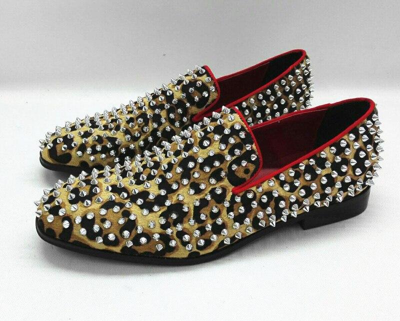 Zapatos hombre vestir classic handmade oxford shoes for men spiked loafers rivets leopard men dress shoes leather wedding flats fashion tassels ornament leopard pattern flat shoes loafers shoes black leopard pair size 38