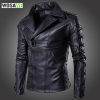 WOSAWE Men Leather Motorcycle Jacket New Fashion High Quality Winter Male Body Protective Racing Motorbike Windproof