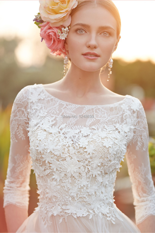 Spring Simple 2015 Wedding Dresses A Line Cheap 3/4 Sleeve Plus ...