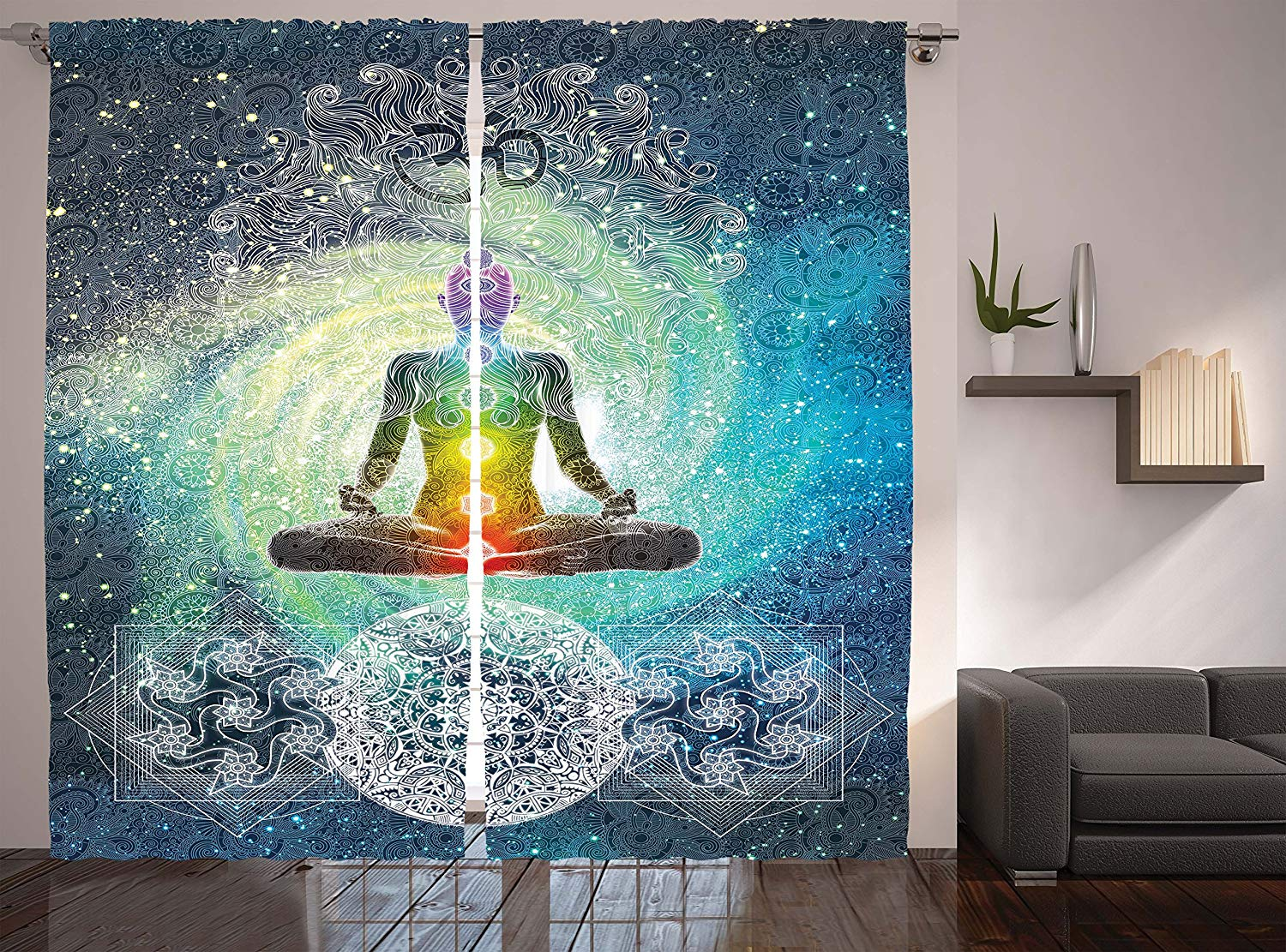 Us 12 36 41 Off Hippie Curtains Bohemian Mandala Yoga Zen Decor By The Office Living Room Bedroom Curtain Rainbow Colors In