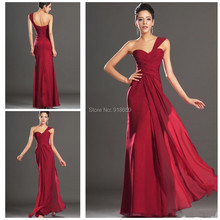 High Quality One-Shoulder A-Line With Pleated Floor-Length Backless Actual Image Burgundy Chiffon Bridesmaid/Prom Dress