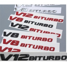 Chrome Matt Gloss Black Red V12 BITURBO V12BITURBO Letters Fender Badges Emblems Emblem Badge Sticker for Mercedes Benz AMG