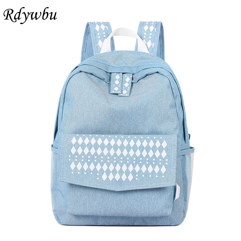 Rdywbu Ethnic Denim Canvas Backpacks For Women High Quality Jeans Laptop Bag Retro Big National Travel School Bag Sac A Dos B758