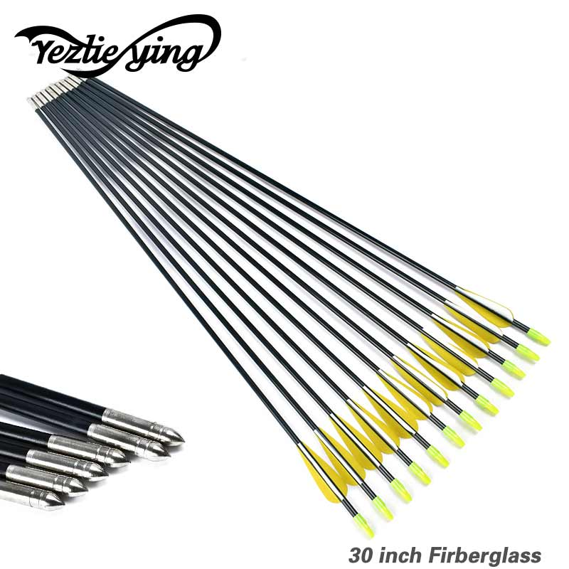 6/12/24/36pcs 30 Fiberglass Arrow 6mm Shaft Target Arrows with 3 (2 yellow and 1 white) vanes For Recurve Bow arrows Hunting