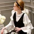 Новый оригинальный Дизайн 2016 Brand женские Рубашки Осень Flare Рукавом Плюс Размер Тонкий Случайные Элегантный Белый Пуловер Блузка Оптовая