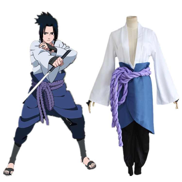 Naruto Shippuuden Uchiha Sasuke Cosplay Costume Sasuke 3rd Generation Full Set Uniform Top Pants Skirt Rope