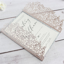 Rose Laser Cut Wedding Invitation with Glittery lining insert, Invites for Party Anniversary