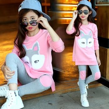 цена на Autumn Children Clothing Cartoon Girls Sets Long Sleeve Tracksuit For 3- 13 Years old Girls Clothes Sport Suit Kids Clothes Sets