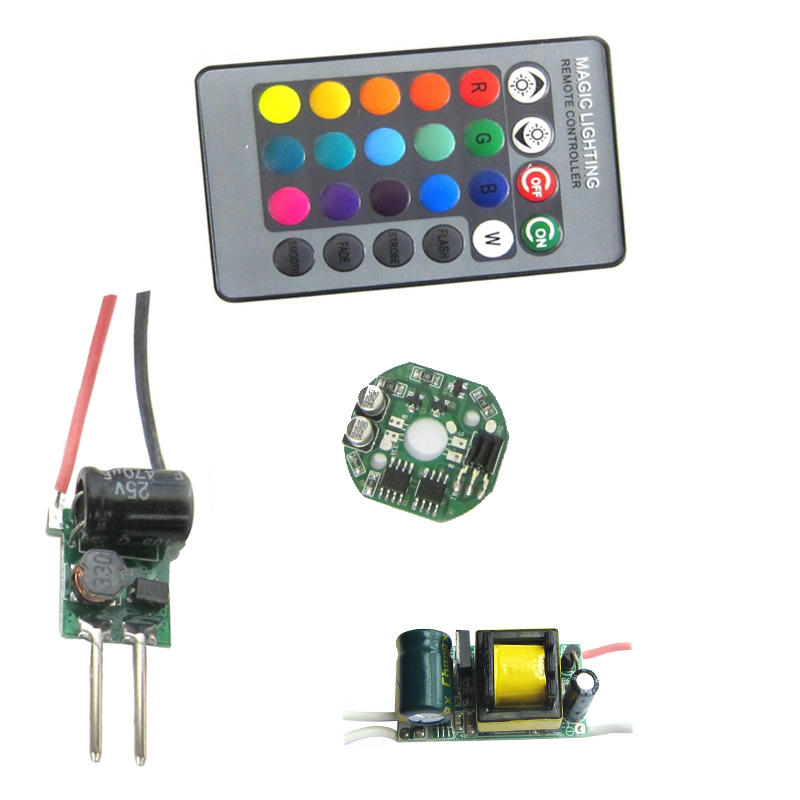 4-in-1 3W RGB SMD LED light Lamp + Dimmable IR Controller Board + 24 key Remote + AC 110V~220V Or DC 12V LED Driver 10w rgb underwater lamp w 24 key remote controller black