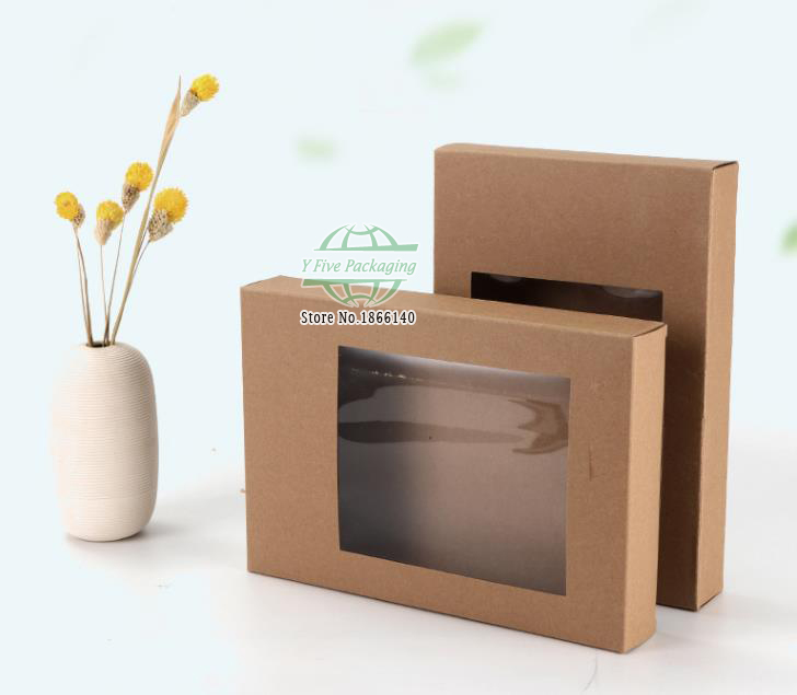 <font><b>Big</b></font> Size Brown Paper Boxes With Window Favors <font><b>Packaging</b></font> <font><b>Gift</b></font> <font><b>Box</b></font> 100pcs/lot Free shipping image