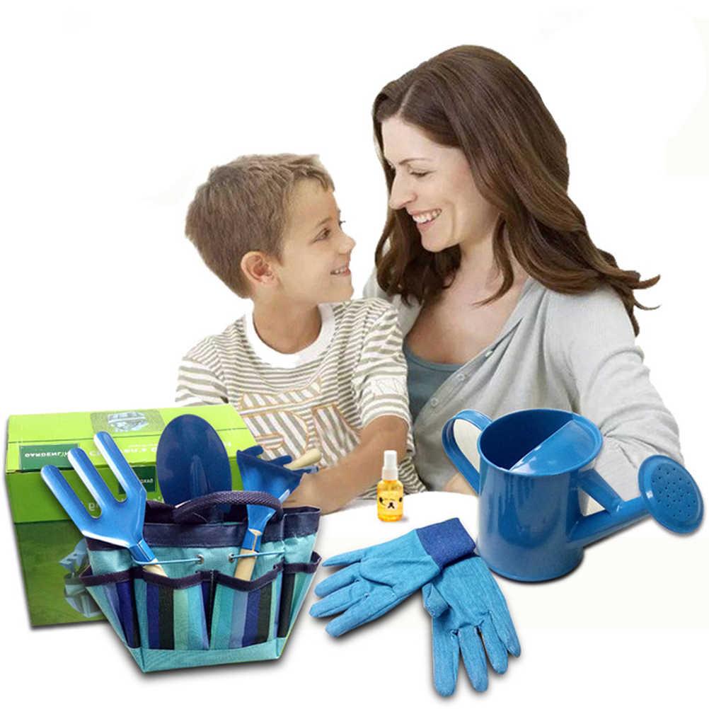 Садовые инструменты с Садовые перчатки и садовый инвентарь для детей садоводство (синий)