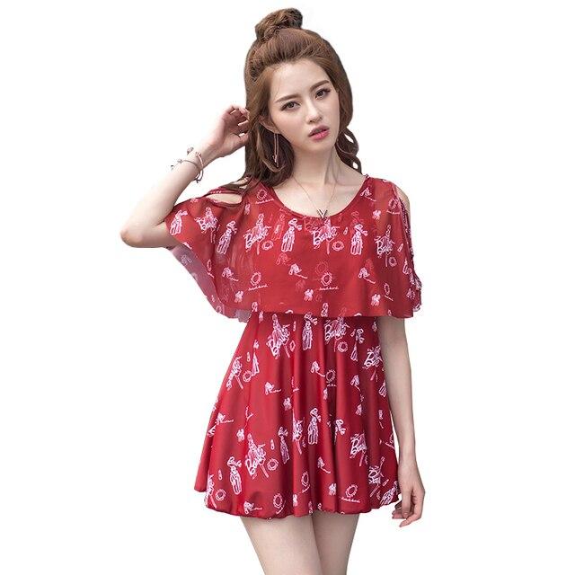 e478a0185f2 Swim Skirt Swimwear Women ladies Plus Size Swim Dress One Piece Swimsuit  High Quality Modest Push