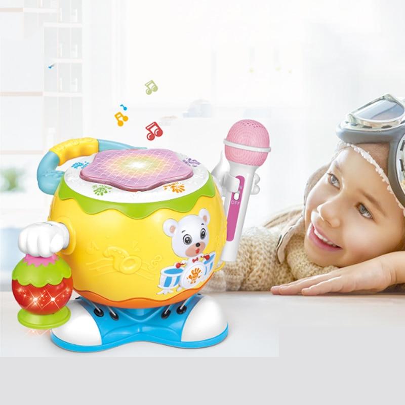 Enfants jouet multi-fonction rotatif musique tambour ours lanterne avec Microphone enfants apprentissage précoce éducation musique jouet pour bébé