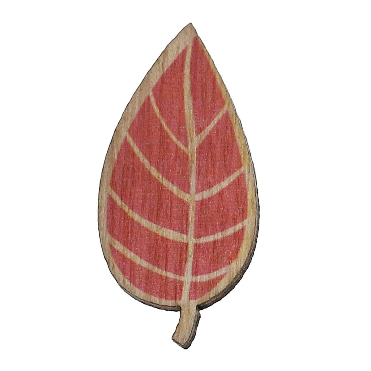 Wood Cabochons Scrapbooking Embellishments Findings Leaf Red 35mm(1 3/8)x 17mm(5/8),30 PCs new
