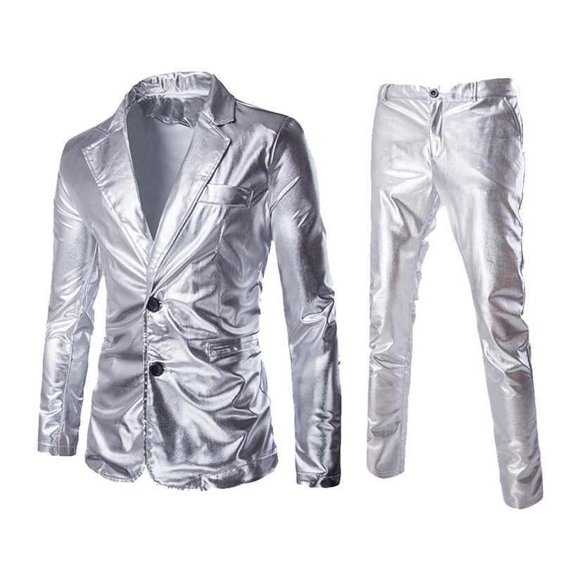 Лидер продаж, с покрытием, золотой, серебряный, черный (куртки + брюки), мужские комплекты костюмов, Брендовое платье-пиджак, комплект для свадебной вечеринки, блестящая одежда