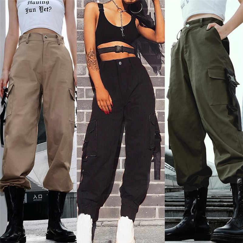 2021 Nuevo Estilo Safari De Las Mujeres Pantalones Cargo Para Mujer Cintura Alta Pantalones Lisos Boton Color Solido Suelto De Las Mujeres Pantalones Con Bolsillos Pantalones Y Pantalones Capri Aliexpress