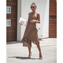 Casual Women Dot Summer Dress Asymmetrical Ruffles Halter Sleeveless Dresses Female Fashion 2018 Sweet Print Dress Sexy Vestidos