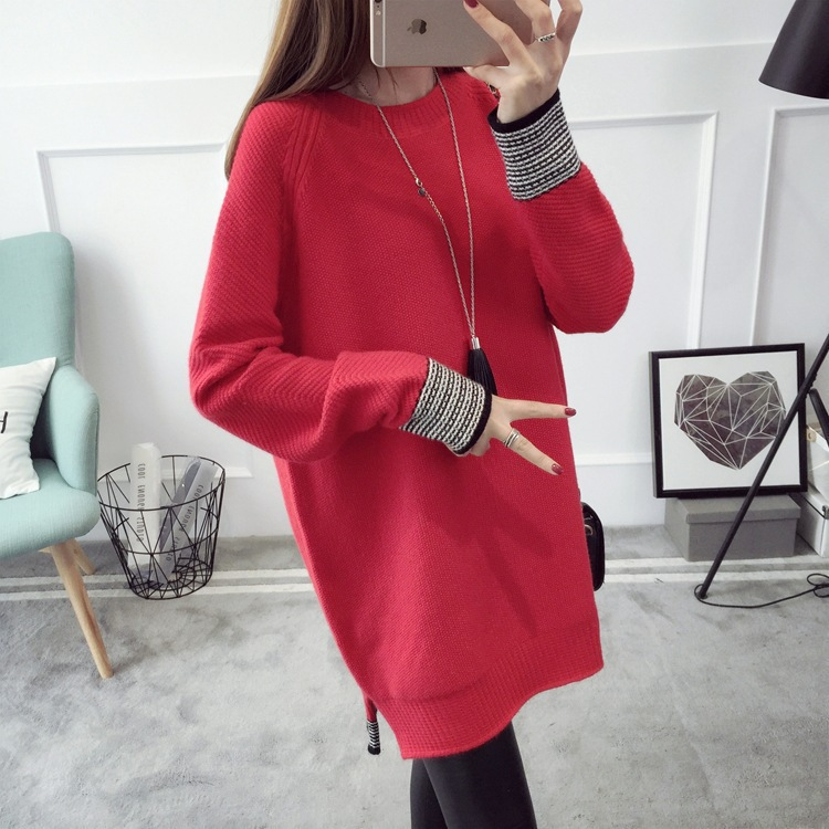MLXSLKY New autumn and winter large size women's pullovers sweater long-sleeved womens long style sweater