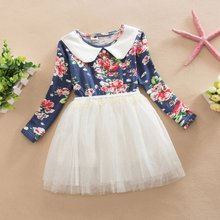Children Clothing Kid Girl Princess Dress Lapel Long Sleeve Flowers Print Voile Tutu Birthday Dresses
