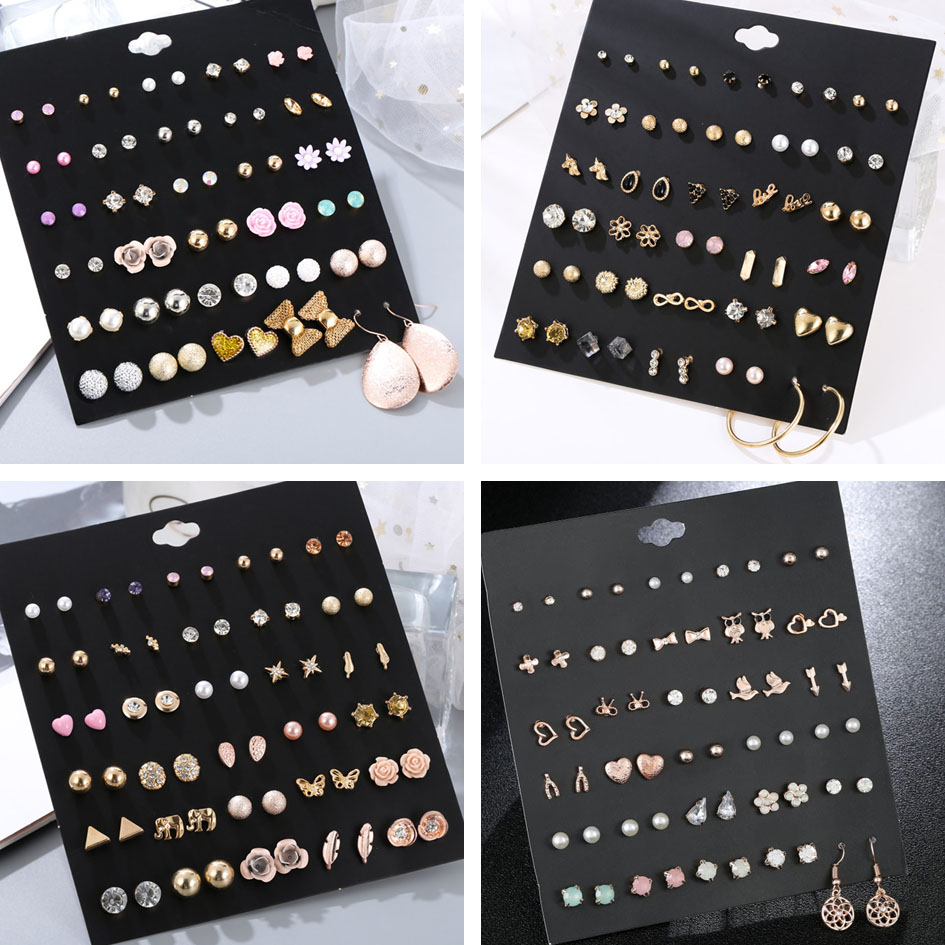 30Pairs/set Classic Mix Round Ball Bow Elephant Heart Flower Owl Love Pearl Bead Stud Earrings Sets For Women Girl Gifts Jewelry