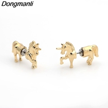 Фотография M57 Dongmanli Golden Unicorn Animal Colt Stereo Earrings Girl Party Gifts Fashion New Jewelry For Women Jewelry Accessories