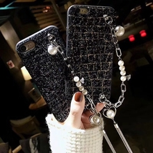 For iPhone 6 6s 7 8 plus X Luxury shinning Girls Cute glitter pearl Bracelet heart Sequins bling bling soft phone case cover